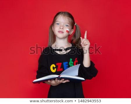 Zeki küçük öğrenci parmak cevap Stok fotoğraf © stryjek