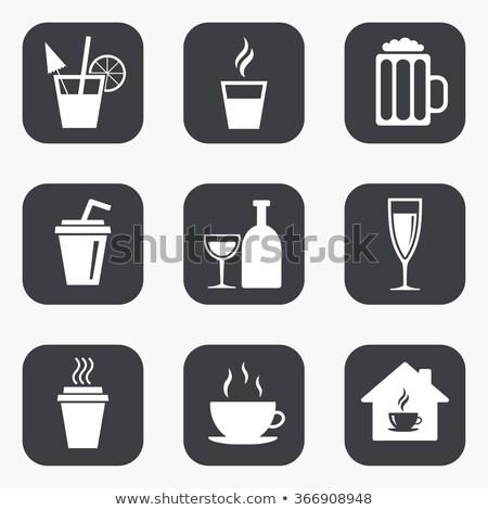 Goblet icon glass button set Stock photo © aliaksandra