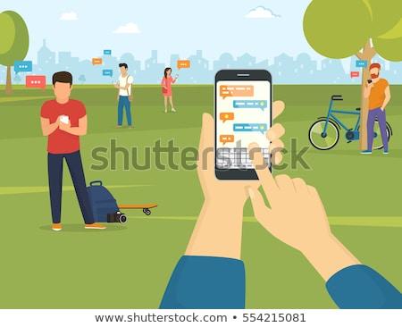 クローズアップ · 男性 · 手 · スマートフォン · 入力 - ストックフォト © deandrobot