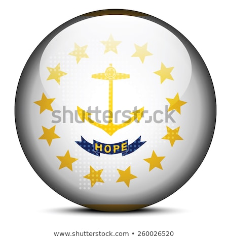 Map with Dot Pattern on flag button of USA Rhode Island State Stock photo © Istanbul2009