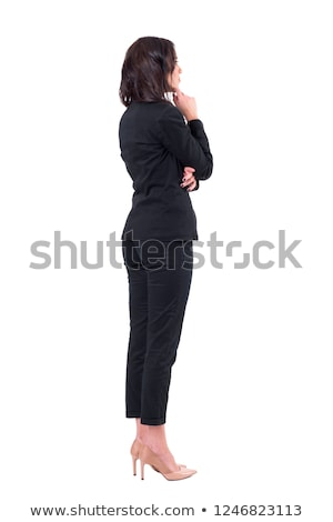 ビジネス女性 · 戻る · 黒髪 · 女性 · 孤立した · 白 - ストックフォト © elwynn