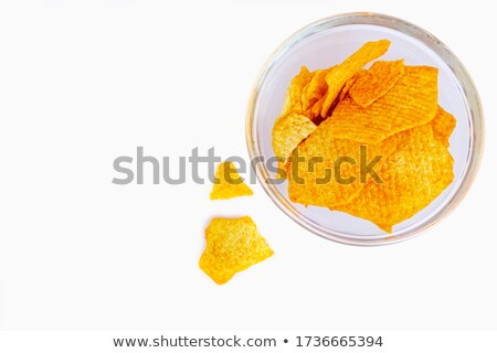 two bowls of potato and nacho chips isolated on white background Stock photo © ozaiachin