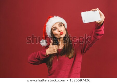 Cute брюнетка Дед Мороз улыбаясь камеры белый Сток-фото © wavebreak_media