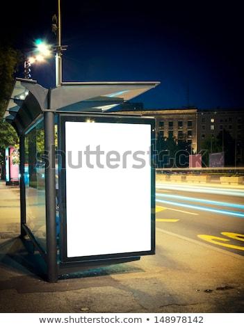 night bus station with blank billboard stock photo © badmanproduction