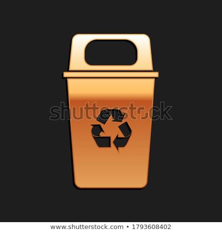 Reciclar dourado o ícone do vetor projeto preto Foto stock © rizwanali3d