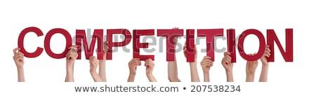 ütem verseny szavak üzletasszony férfi kezek Stock fotó © fuzzbones0