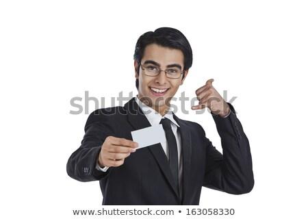肖像 · 笑みを浮かべて · 小さな · ビジネスマン · 私を呼び出す · ジェスチャー - ストックフォト © imagedb