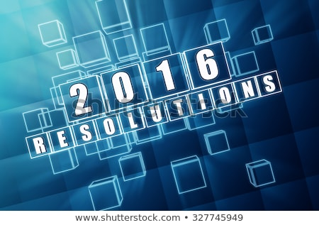 new year 2016 resolutions in blue glass blocks stock photo © marinini