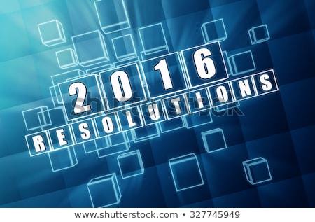 new year 2016 resolutions in blue glass blocks Stock photo © marinini