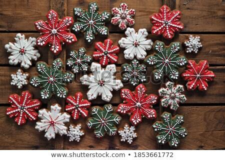 kar · tanesi · bisküvi · Noel · zencefilli · çörek · kar · dekoratif - stok fotoğraf © digifoodstock