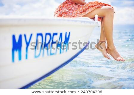 genç · kadın · ayak · parmakları · su · yaz · okyanus · yeşil - stok fotoğraf © simply