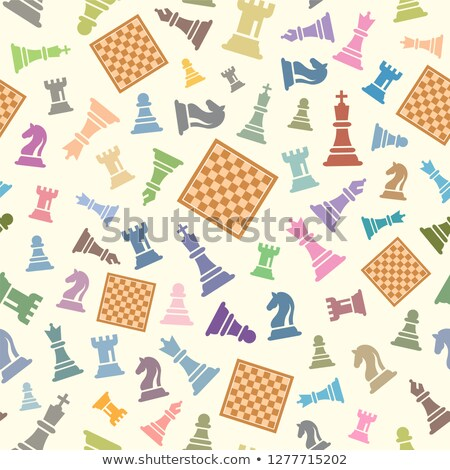 Classical chessboard with chess figures, seamless pattern stock photo © Evgeny89