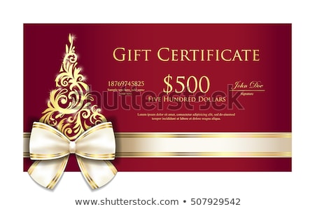luxury red christmas gift certificate with cream ribbon and gold ornmament christmas tree stock photo © liliwhite