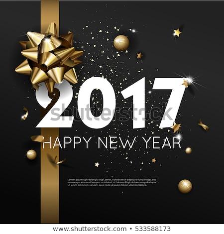 Happy new year afiş altın noel top kâğıt Stok fotoğraf © carodi