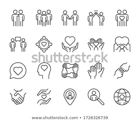 beyaz · el · sevmek · ikon · gönüllü · yalıtılmış - stok fotoğraf © oakozhan