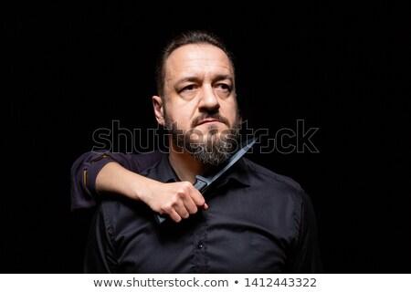 hombre · cuchillo · garganta · caucásico · tatuajes - foto stock © iofoto