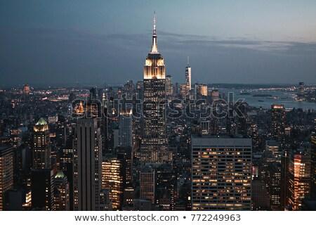 Szobor hörcsög naplemente sziluett New York égbolt Stock fotó © oliverfoerstner