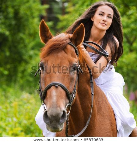 Gyönyörű fiatal nő visel mesés ruha nő Stock fotó © konradbak
