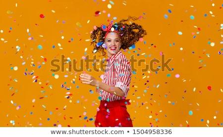 vicces · fiatal · nő · visel · színes · izolált · fehér - stock fotó © sapegina