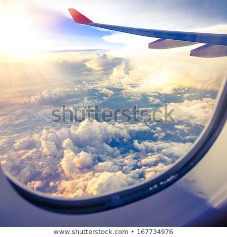 雲 空 ウィンドウ 航空機 飛行機 翼 ストックフォト © artjazz