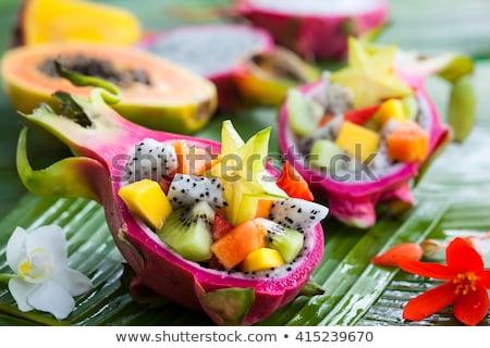 экзотический · плодов · пластина · фрукты · кухне · каменные - Сток-фото © barbaraneveu