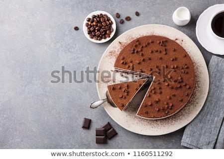 kávé · karamell · torta · desszert · tányér · fekete - stock fotó © frimufilms