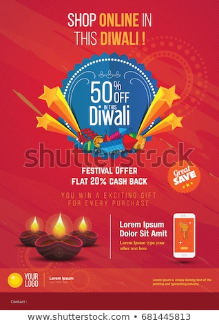 diwali sale poster and banner with lights on red background Stock photo © SArts