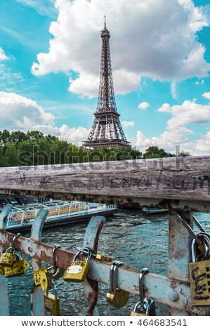 Eiffel Tower and Padlocks in Trocadero Paris Stock photo © lunamarina