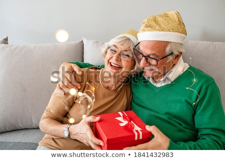 Two couples in living room drinking champagne and smiling Stock photo © monkey_business