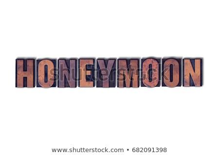 Balayı yalıtılmış kelime yazılı bağbozumu Stok fotoğraf © enterlinedesign