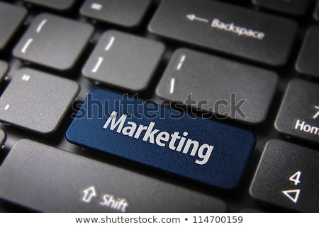 Stockfoto: Marketing · onderzoek · Blauw · toetsenbord · knop · vinger