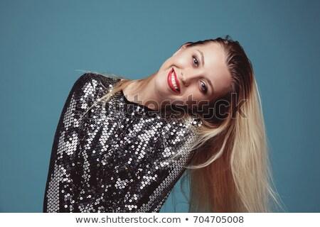 Gyönyörű szőke nő ruha kezek divat modell Stock fotó © konradbak