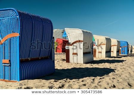 fából · készült · székek · naplemente · tengerpart · kettő · megnyugtató - stock fotó © klinker