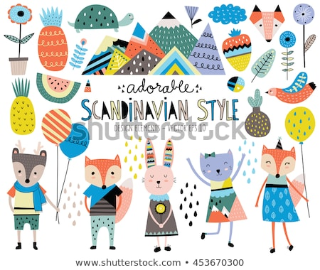 Sticker design with cute animals and flowers Stock photo © bluering