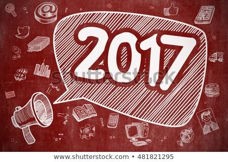 2017   doodle illustration on red chalkboard stock photo © tashatuvango