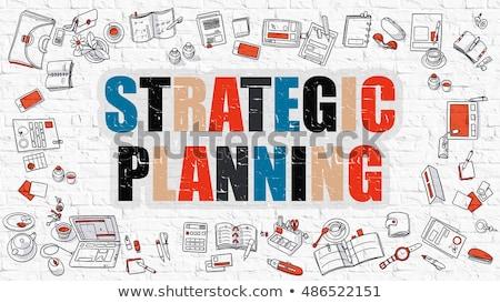 Stratégiai tervez firka terv rajzolt fehér Stock fotó © tashatuvango