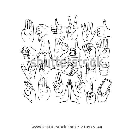 Stock fotó: Firka · gesztusok · ikon · szett · remek · hüvelykujj · elismerés