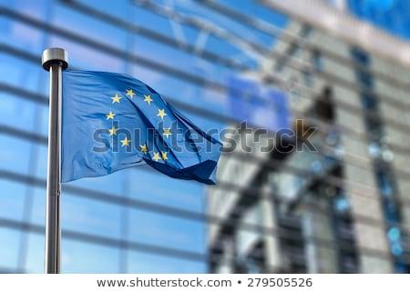 Foto stock: Europeo · banderas · edificio · ue · bandera