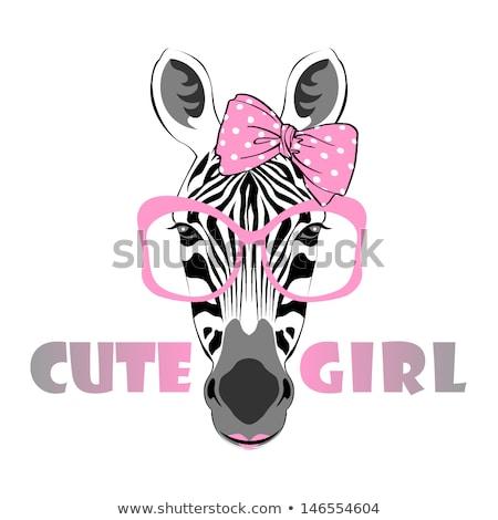 美少女 かわいい シマウマ 実例 自然 背景 ストックフォト © bluering