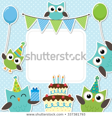 Mutlu yıllar kart komik karalama kuş vektör Stok fotoğraf © balasoiu