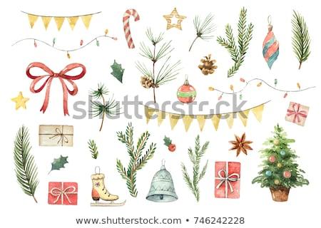 bonbons · canne · couleur · pour · aquarelle · décoré · rouge · arc - photo stock © sonya_illustrations