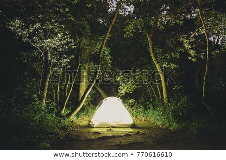 illuminated green camping tent stock photo © vapi
