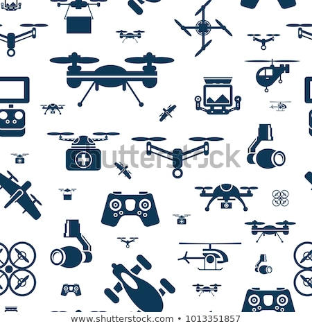 Stockfoto: Digital Vector Flying Drone Objects Color