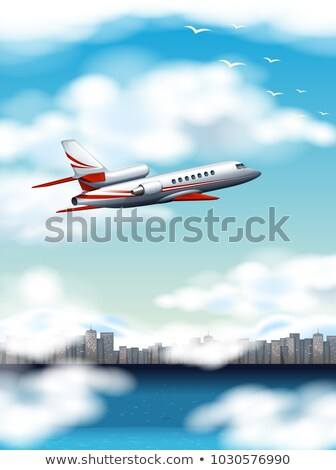 scene with airplane flying over city at day time stock photo © bluering