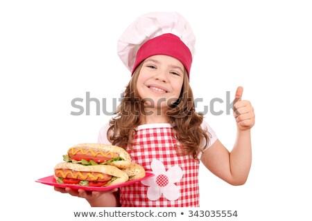 Szakács eszik hotdog étel férfi portré Stock fotó © IS2