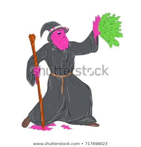 Wizard Casting Spell Grime Art Stock photo © patrimonio