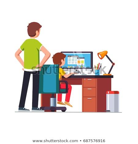 Ojciec oglądania syn praca domowa człowiek dziecko Zdjęcia stock © IS2