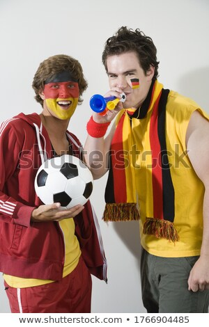 Soccer ball and German flag scarf support fans Stock photo © orensila