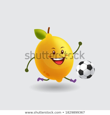 Healthy Yellow Lemon Fresh Fruit With Green Leaf Cartoon Mascot Character Running Stock photo © hittoon