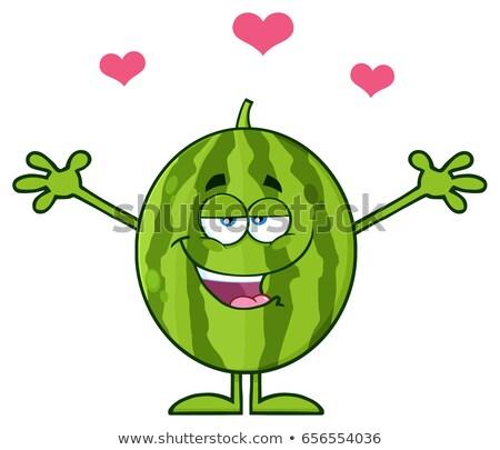 Felice verde anguria frutta fresca mascotte carattere Foto d'archivio © hittoon